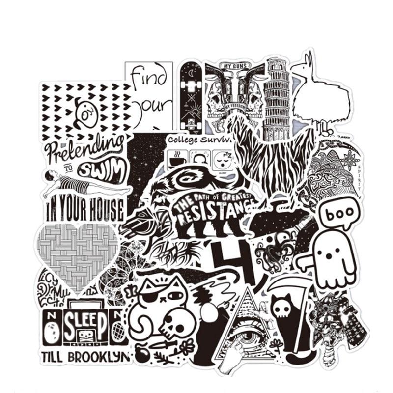 52 Teile/paket Metallic Mixed Schwarz Und Weiß Aufkleber Graffiti Aufkleber Laptop Aufkleber Aufkleber Kühlschrank Skateboard Doodle Aufkleber Taille Und Sehnen StäRken