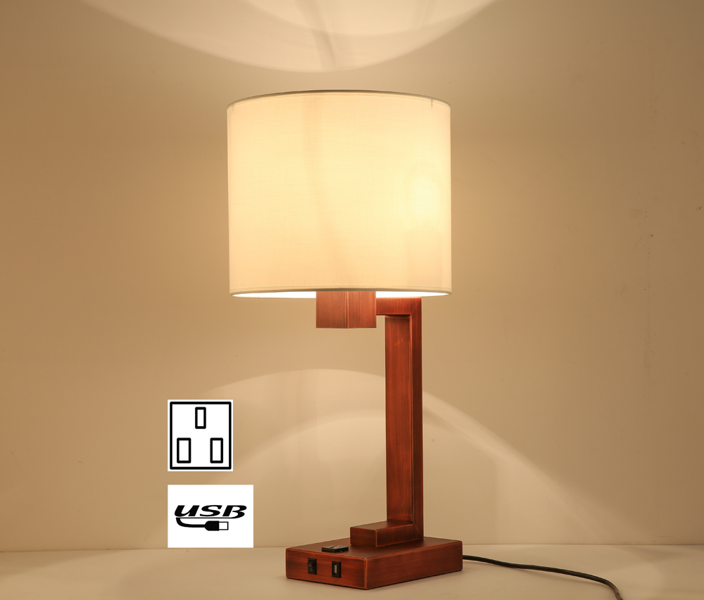 Bedroom Lamps Made In Usa: Lobolovelife America Hotel Table Lamp With Power Outlet