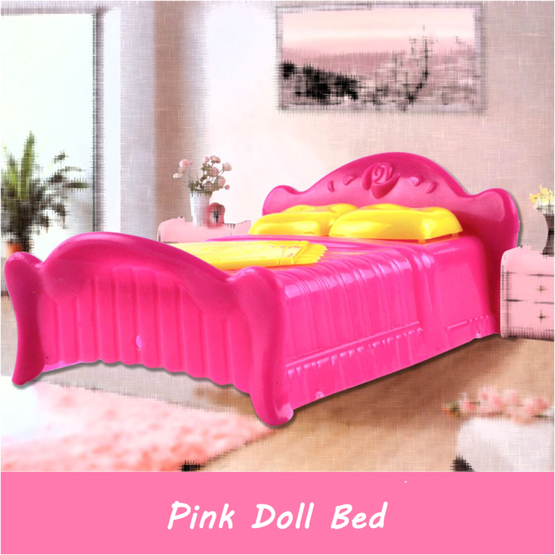 Princess Doll Accessories Pink Bed Doll Furniture Bedroom Bedchamber Double Bed With Pillow Bed Dollhouse Furniture
