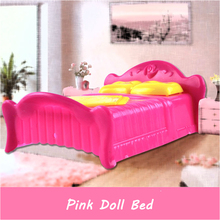 Princess Doll Accessories Pink Bed Doll Furniture Bedroom Bedchamber Double Bed With Pillow Bed Dollhouse Furniture Toy For Girl