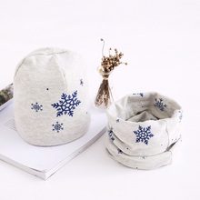 Children Hat Scarf Set Snow Printing Cotton Baby Cap 2pcs Winter For Boys And Girls 3 months to 8 Years