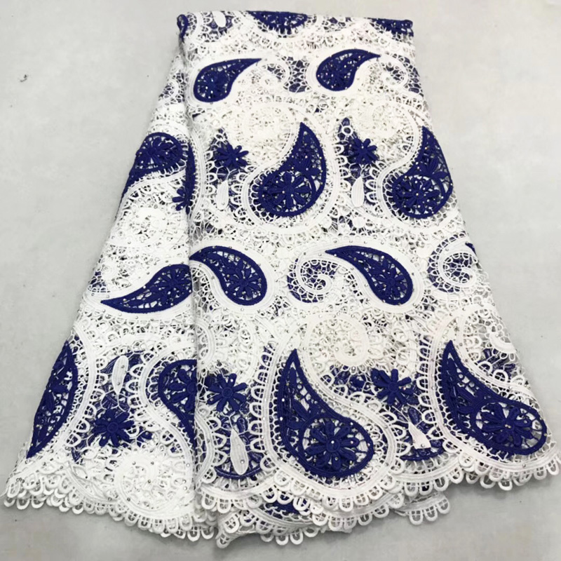 Free shipping (5yards/pc) Heavy African big cord lace fabric blue and white guipure lace with stones for party dress FLA14Free shipping (5yards/pc) Heavy African big cord lace fabric blue and white guipure lace with stones for party dress FLA14
