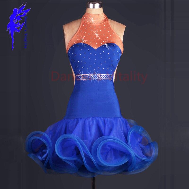 Latin Dance Costume Sexy Spandex Sleeveless Stones Latin Dance Dress For Women Latin Dance Competition Dress 2XS-6XL