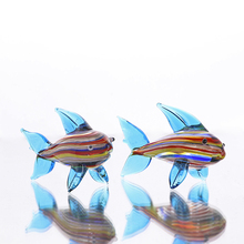 Colorful Shark Glass Figurines Home Decor Artwork Crystal Miniature Handcraft Figure Fish Tank Aquarium Decor,Set of 2