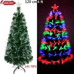Choinka światłowodowa LED sztuczna choinka bożonarodzeniowa zielona lampa błyskowa kryty Xmas drzewa prezent świąteczne dekoracje dla domu 2017