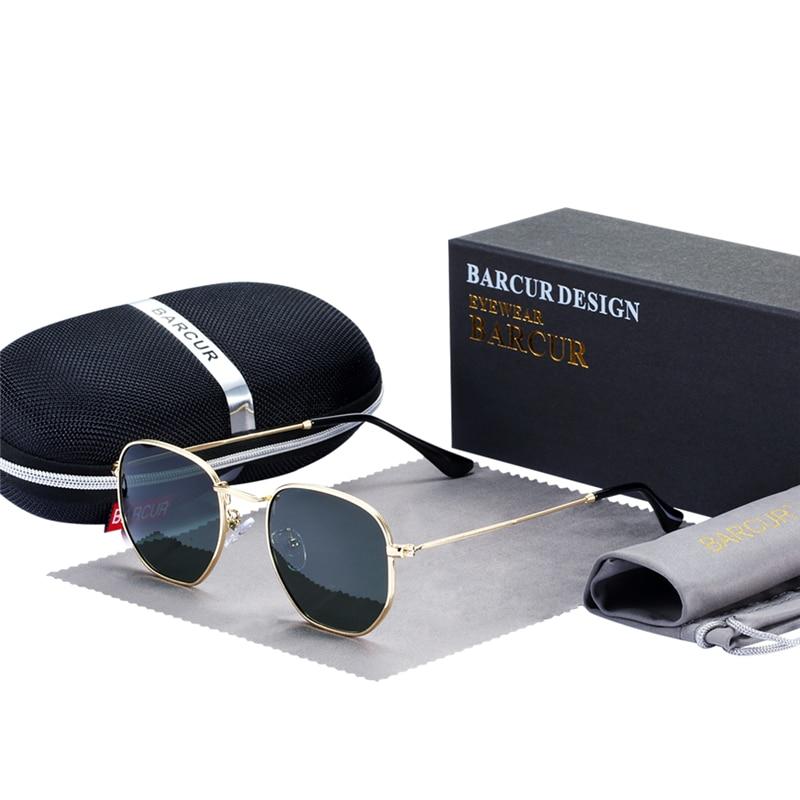 BARCUR Clássico Retro óculos de sol Reflexivos Óculos De Sol Homem Hexágono Óculos de Sol Metal Frame Eyewear Oculos de Sol gafas de Óculos de Sol Com Caixa