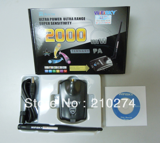 Free Shipping New High Power 2000MW RTL8187L wifisky USB wireless wifi adapter network card with 6 dbi antenna