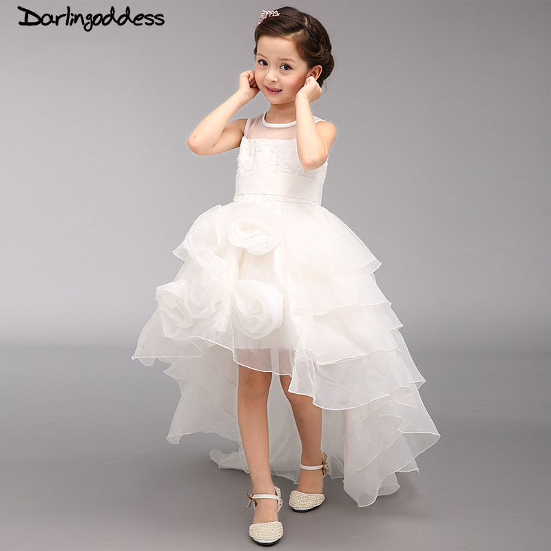 2017 Real Photo   Flower     Girl     Dresses   Evening Party High Low First Communion Organza Princess Junior Pageant   Dress   Kids Clothes