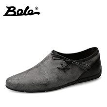 BOLE New Designer Men Casual Shoes Summer Flats Fashion Slip on Driving Shoes Moccasins Leather Men Loafers Breathable Shoes Men