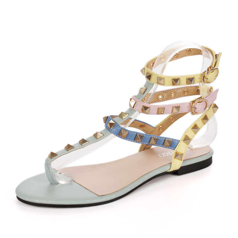 New Ladies Sweet Mixed Colors Clip toe Sexy Flats Sandals Narrow Band Buckle Strap Women Fashion Rivets High Quality Party Shoes new 2017 spring summer women shoes pointed toe high quality brand fashion womens flats ladies plus size 41 sweet flock t179