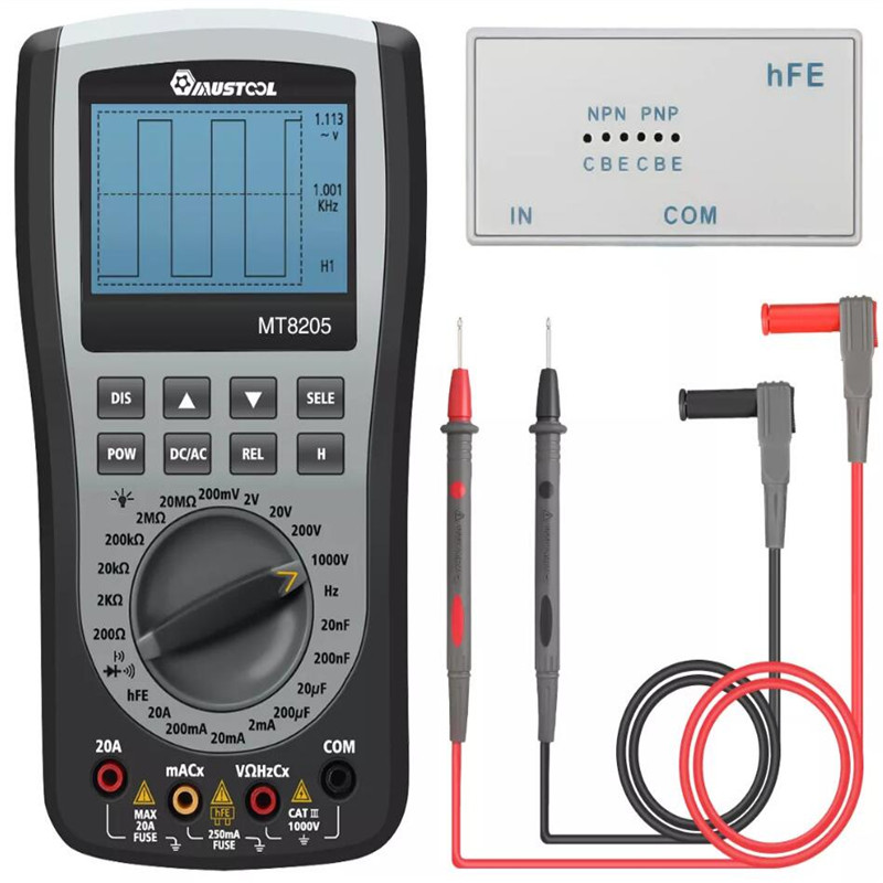 MUSTOOL MT8205 2 in 1 Digital Intelligent Handheld Storage Oscilloscope Multimeter AC DC Current Voltage Resistance