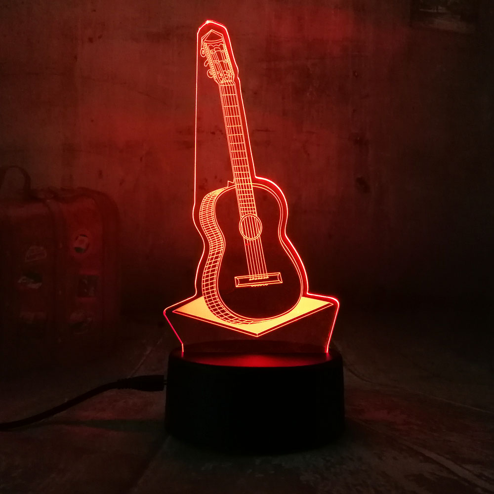 Amroe 3D Guitar Music LED Night Light 7 Colors Change Touch Desk Table Lamp Gift Children's Bedrooms Livingroom Home Decoration