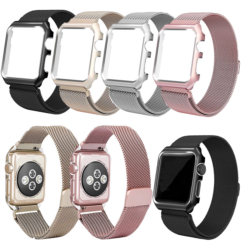 Magnetic Milanese Loop Stainless Steel Band For Apple Watch Band 1 2 3 Links 38MM 42MM Bracelet Belt With Metal Case Protective lazyodd for apple watch band milanese loop with stainless steel metal case magnetic iwatch strap for apple watch 42mm series1 2