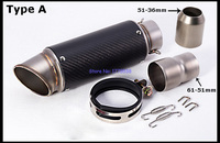 Universal Inlet 61mm To 51mm Motorbike Exhaust Muffler Carbon Fiber SC Modified Motorcycle Exhaust Pipe Mufflers