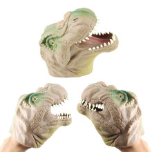 1* Soft Plastic Dinosaur Head Hand Children Kids Finger Puppets Play Tricks Funny Games Birthdays Gifts Novelty Halloween Toys