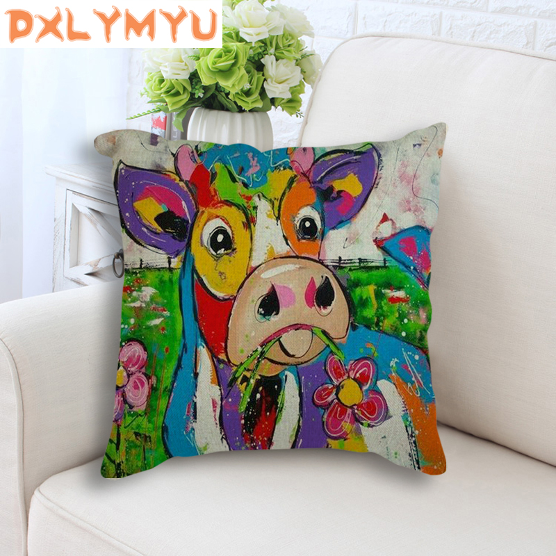 Car Backrest Colorful Cushion Decorative Seat Linen Cushions Sofa Home Decor Oil Painting Cow Printed Throw Pillow Nordic Style in Cushion from Home Garden