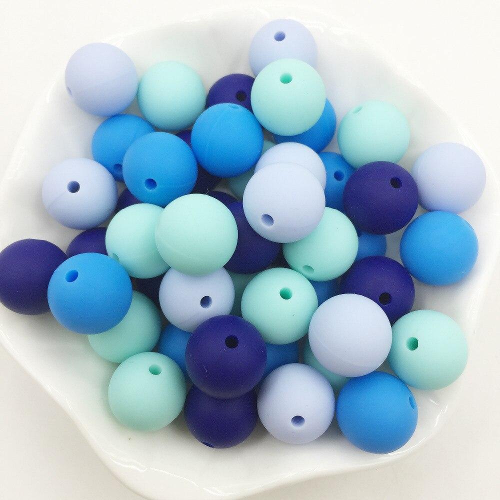Dulces Perlas de Silicona niños Bebé colores Beads Dentición Dentición Safe Food Grade 10mm/12mm/15 MM ronda de Perlas de Silicona 100 unids/lote