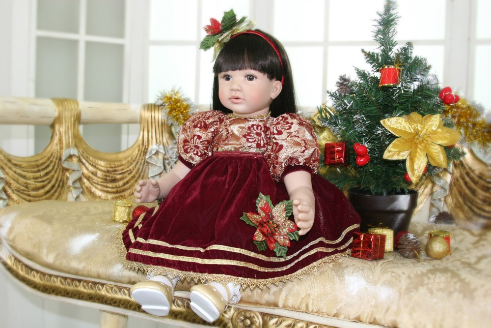 Pursue 24/ 60 cm Christmas Doll Baby Alive Silicone Reborn Dolls Lifelike Princess Toddler Baby Girl Doll Toys for Kids Gift adorable soft cloth body silicone reborn toddler princess girl baby alive doll toys with strap denim skirts pink headband dolls