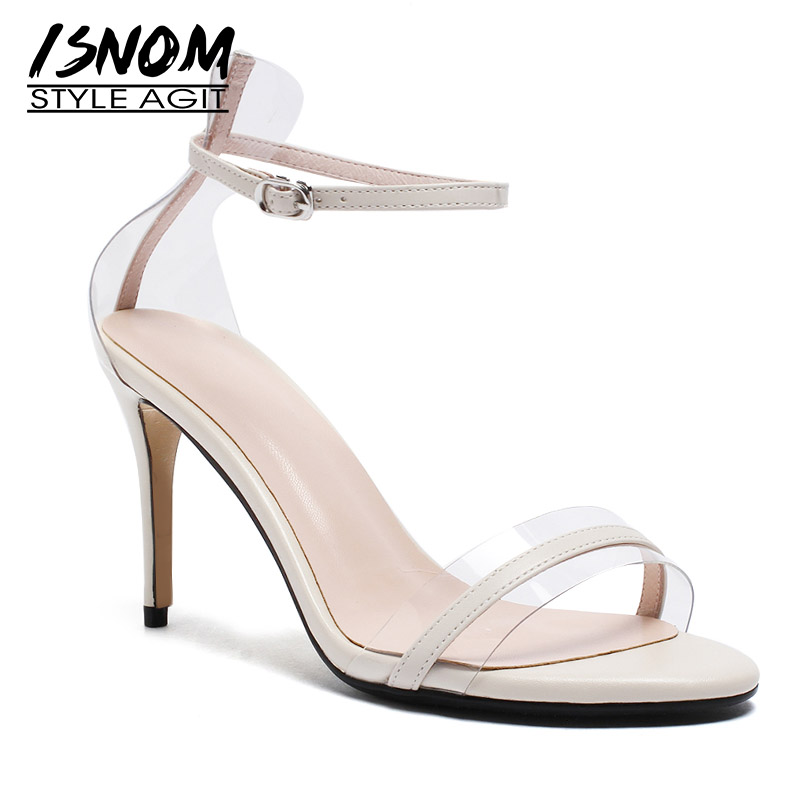 ISNOM High Heels Sandals Women Summer Sandals Women 2019 Transparent Pvc Wedding Cow Leather Shoes Female Ankle Strap ShoesISNOM High Heels Sandals Women Summer Sandals Women 2019 Transparent Pvc Wedding Cow Leather Shoes Female Ankle Strap Shoes