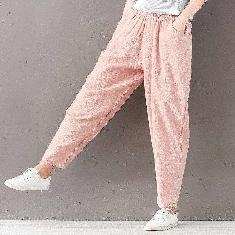 Romacci Plus Größe Harem Hosen Vintage Casual Frauen Lose Gerade Hosen Elastische Hohe Taille Kordelzug Baumwolle Allgleiches Hosen
