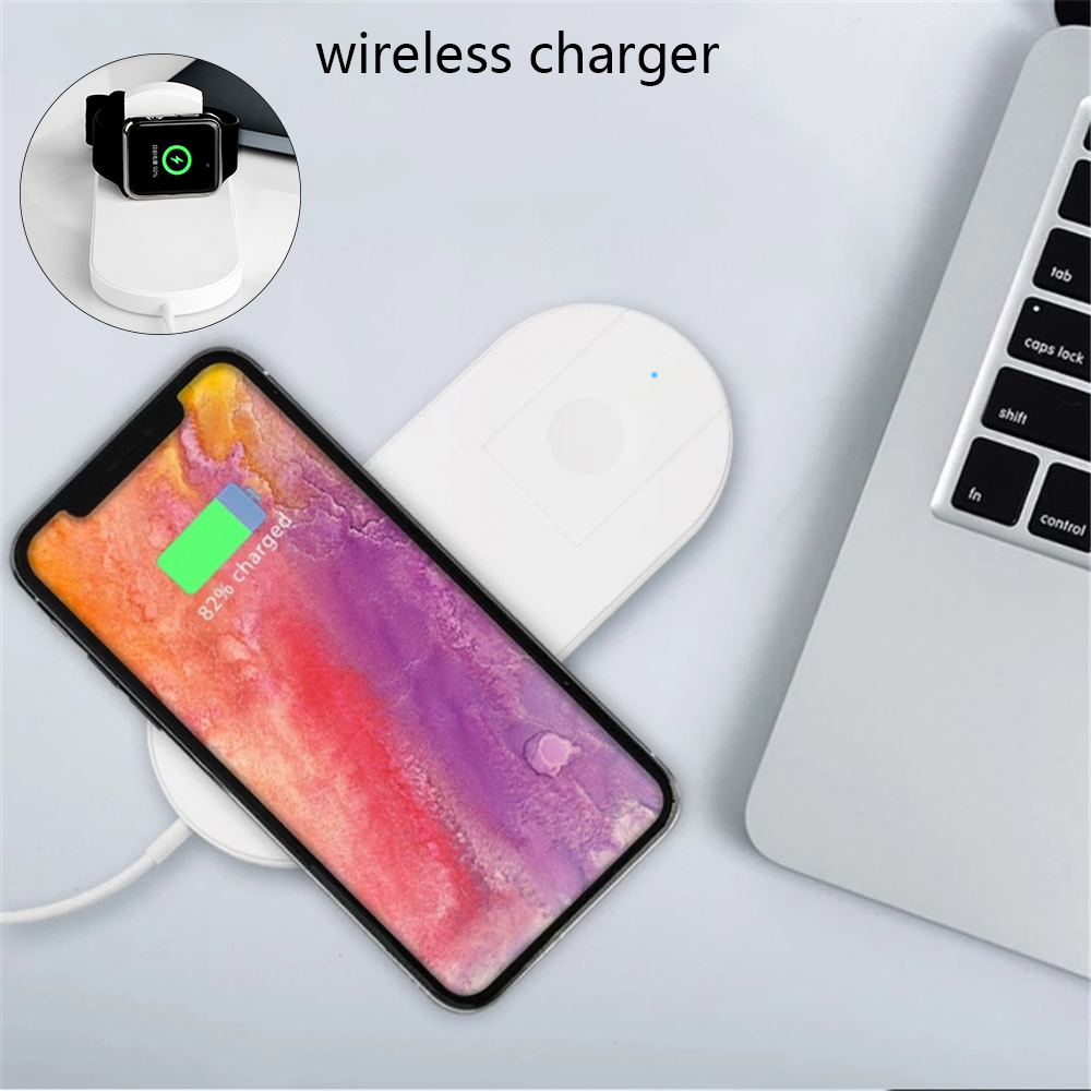 1PC Portable 2in1 Foldable Cell Phone QI Wireless Charger