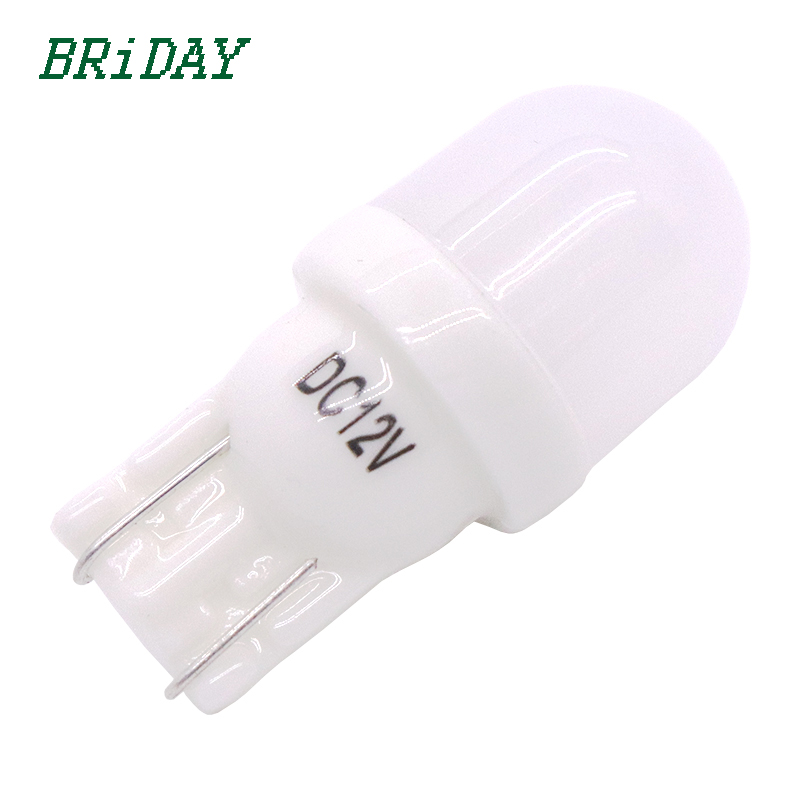 BRiDAY 1pcs T10 W5W 194 168 LED Car Parking Side License Plate Bulb Interior Reading Lamp Wedge Dome Turn Signal Light 12V 10pcs auto t10 5 led 2w 5050 w5w wedge door parking bulb light car 194 168 led dome festoon c5w c10w license plate light drl