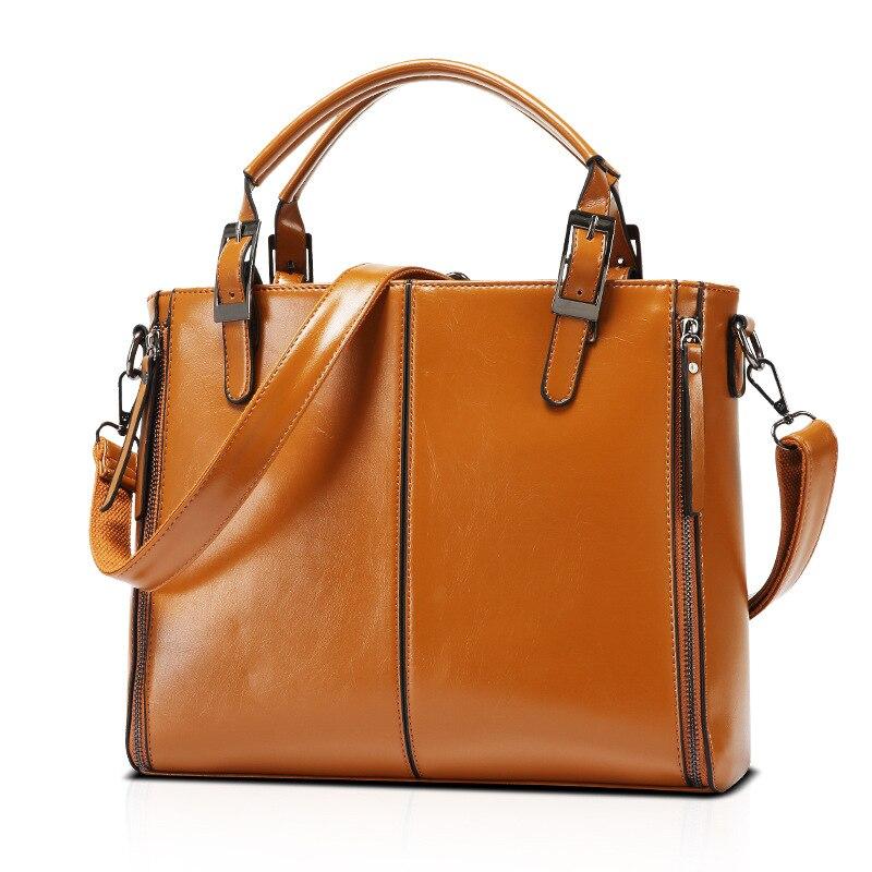 ФОТО Women PU Leather Handbag Tote Trend Leather Oil Wax High Quality Designers Brand Shoulder Bag Splice Grafting Sac Femme Epaule