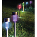 5pcs/lot Stainless Steel Solar Power Led Light Outdoor Garden Modern Stylish Garden Yard Lawn NightLight Lamp