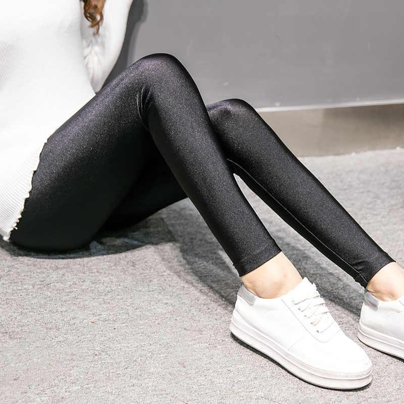 נשים סתיו חורף רחוב מכנסיים אופנה צמר פנימי אלסטיות גבוהה מותן עיפרון צפצף מוצק שחור מבריק קטיפה חותלות