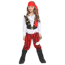 Children Kids Rebel Posh Pirate Costume Suit Outfits Girls Halloween Purim Carnival Party Masquerade Role Play