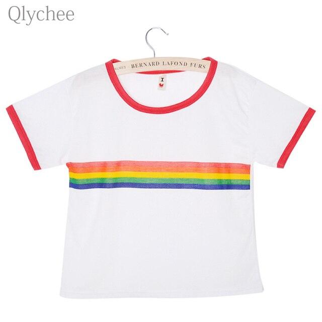 7d0264adc1 Qlychee Summer Women Streetwear Cute T Shirt Rainbow Stripe Tee Top Short  Sleeve Casual Loose White T shirt