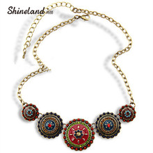 цены на Free Shipping Min Order $10(Mix Order)2013Hot Sale Women Bohemia Style Enamel Beads Flowers Choker  Statement Necklace Jewelry  в интернет-магазинах