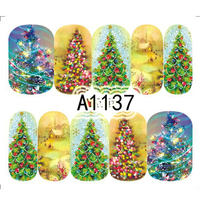 Hot Sale 1PC  Colorful Christmas Tree Dream Design Nails Art Sticker Nail Water Decals Manicure Wraps Xmas Decoration SAA1137