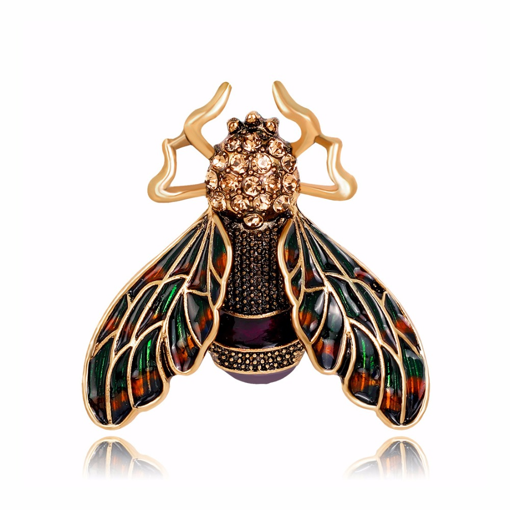 DuoTang Housefly Brooches Classic Rhinestone Badges for Women Shirt Collar F Enamel Pin Jewelry Accessories Christmas Gift