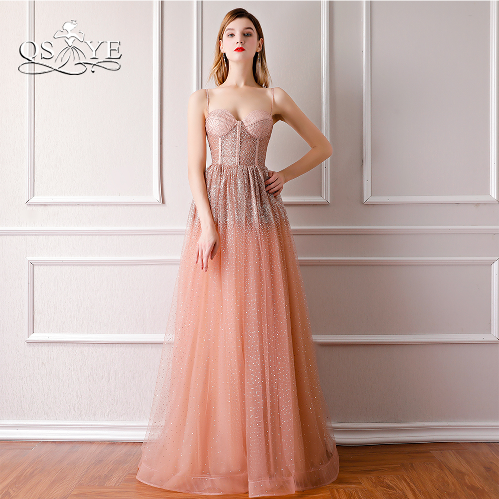 QSYYE 2018 Sexy Long   Prom     Dresses   Dusty Pink Spaghetti Straps Sparking Beading Tulle Formal Evening   Dress   Party Gowns
