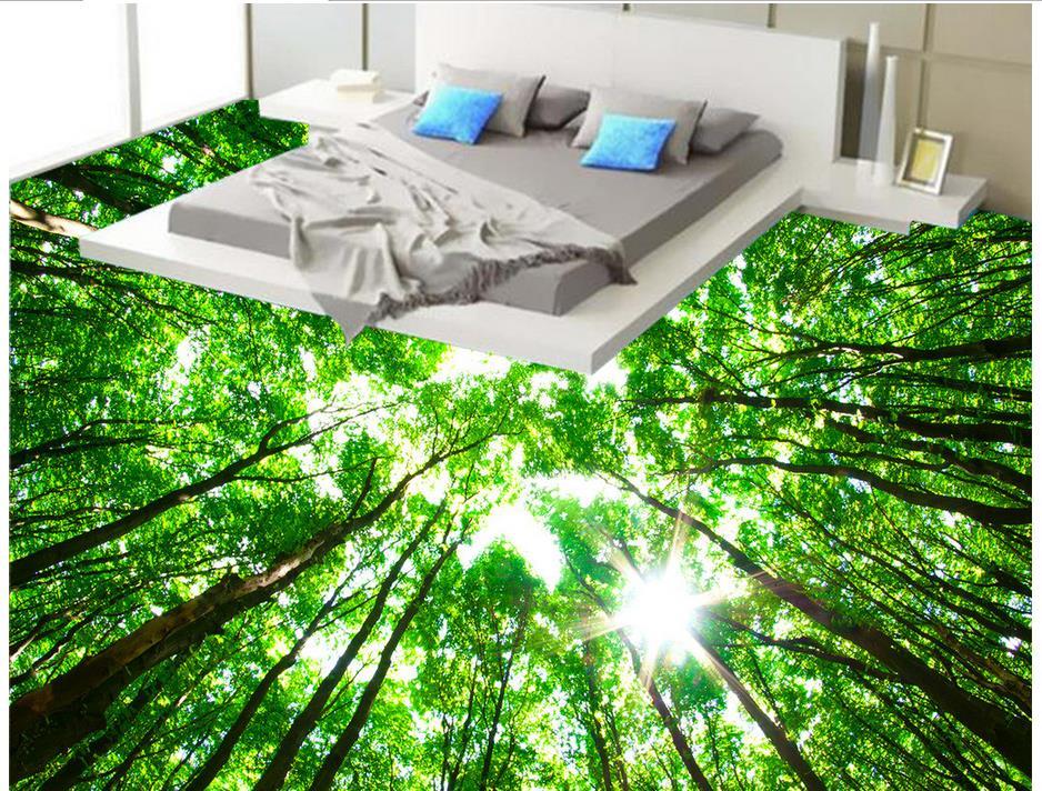 Custom 3d wall murals wallpaper forest 3d floor tiles for 3d waterproof wallpaper