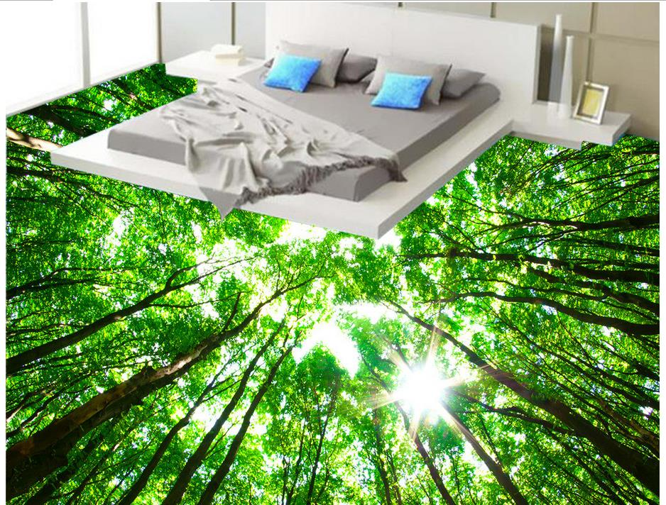 Custom 3d wall murals wallpaper forest 3d floor tiles for Black 3d tiles wallpaper