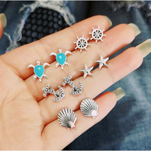 Summer Beach New Shell Anchor Cruise Ship Turtle Starfish Stud Earrings Set Hot Women Fashion 5 Pair Earrings Set For Summer цена
