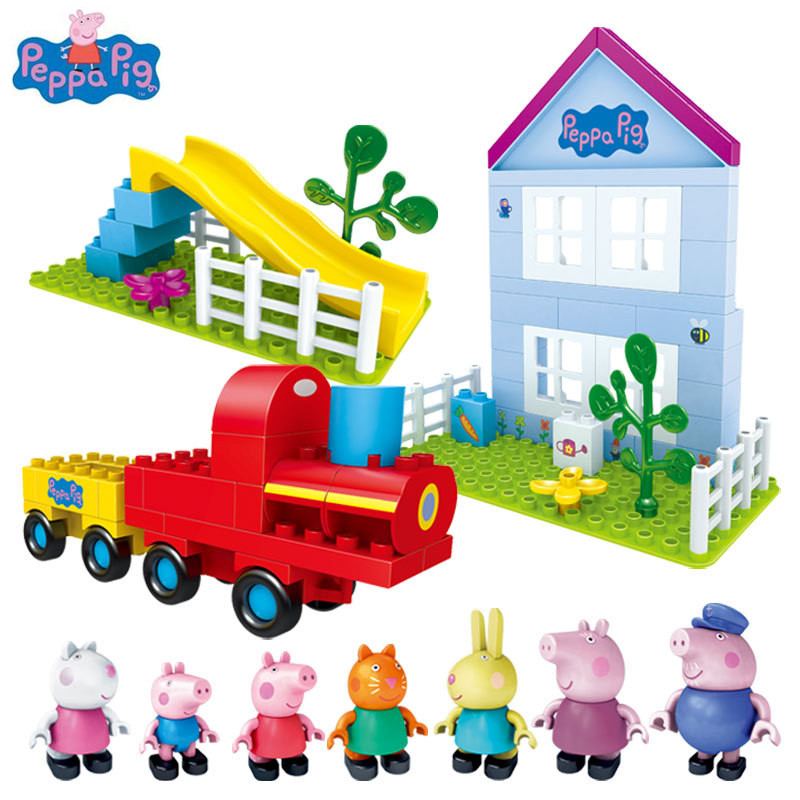 Peppa George Pig DIY Assembly Building Blocks Toys Doll Scene Train Playground Garden Big Building Blocks Toys Gift For Kids wooden toys geometric blocks train building stacking set toy assembly pull along toys for children train blocks exercise balance