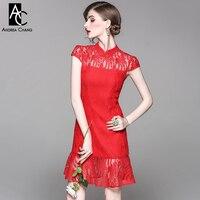İlkbahar yaz pist tasarımcı kadın elbise kırmızı dantel elbise çin tarzı yaka yüksek kalite parti olay mermaid trompet elbise