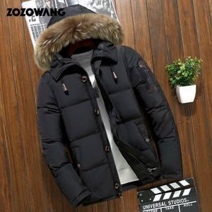 Image 3 - Мужская зимняя куртка на белом утином пуху, модная Толстая теплая парка с мехом, Повседневная Водонепроницаемая пуховая куртка, 90% пуха