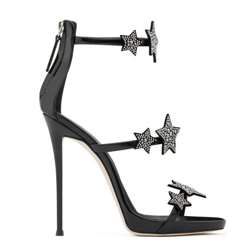 Pic Drei Schuhe As Kristall Nude Verschönerte Sterne Straps Partei Gladiator Mit as Patent Silber Frauen Gold Pic Sandalen Schwarz Leder FqPZwYWpTa
