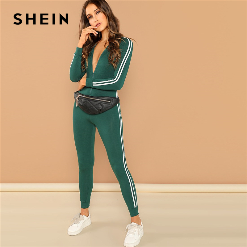 SHEIN Green Highstreet Raglan Sleeve Striped Side Zip Front Mid Waist Long Sleeve Jumpsuit Autumn Fashion Party Women Jumpsuits