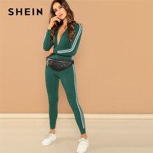 12932f9195cf SHEIN Green Highstreet Raglan Sleeve Striped Side Zip Front Mid Waist Long  Sleeve Jumpsuit Autumn Fashion