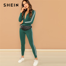 45e8f6435793 SHEIN Green Highstreet Raglan Sleeve Striped Side Zip Front Mid Waist Long  Sleeve Jumpsuit Autumn Fashion Party Women Jumpsuits