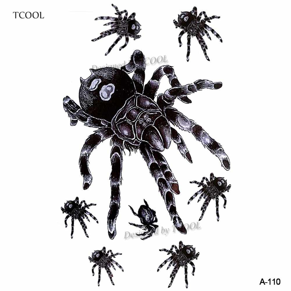 HXMAN Spider Temporary Tattoo Sticker Waterproof Women Body Art Tatoo Animal Hand Tattoos Paper 9.8X6cm A-110
