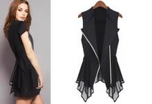 2015 Spring – Summer jacket chiffon Jackets Women Slim Long jacket  European brands sleeveless waist-coat  Maga Women S- XXXL