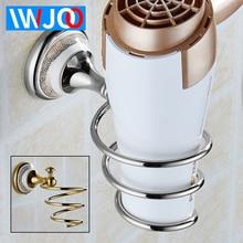 Toilet Hair Dryer Holder Gold with Hook European Style Brass Ceramic Wall Mounted Hair Dryer Rack Bathroom Shelf Save Space стоимость