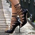Preto de Salto Alto sandálias gladiador das mulheres Saltos Finos Mulheres Bombas de Rendas até Saltos Do Dedo Do Pé Aberto Sandálias Sapatos sexy