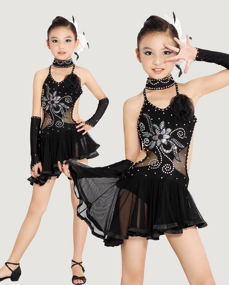 ff8695083 2016 Yellow Black Girl Standard Competition Latin Dance Dress Kids ...